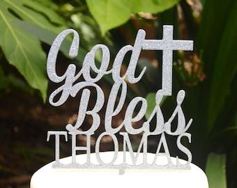 God Bless Cross Baptism Christening Confirmation Custom Personalized Name Cake Topper
