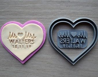 Heart V3 Wedding Shower Bridal Anniversary Engagement Valentine Party Name & Date Cookie/Fondant Cutter Set Custom Names
