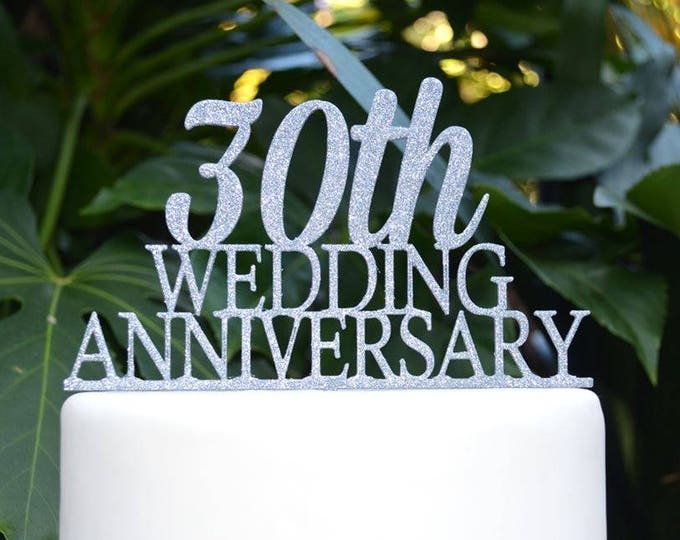 Any Number Wedding Anniversary Cake Topper - Assorted Colours