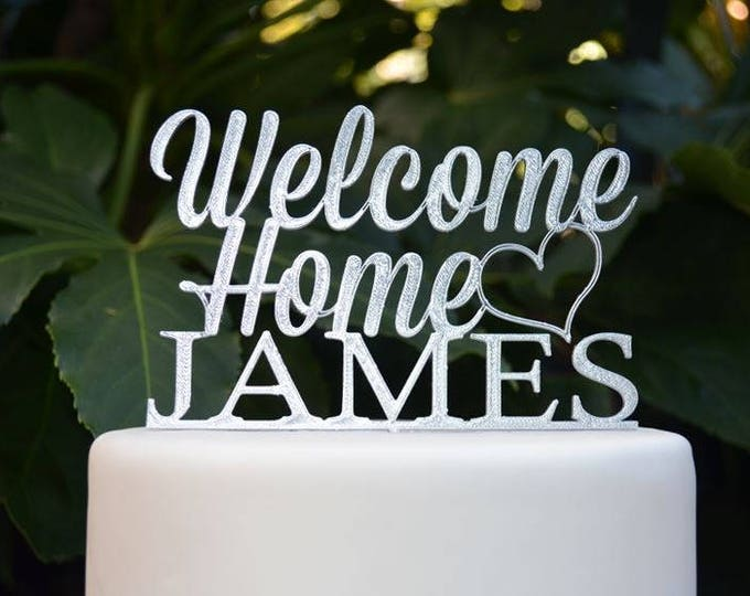 Welcome Home Custom/Personalized Name Cake Topper - Assorted Colours