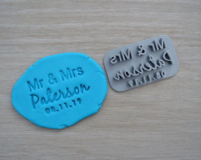 Mr & Mrs Custom V2 Personalized Name And Date Imprint Wedding Engagement Cookie/Fondant/Soap/Embosser Stamp