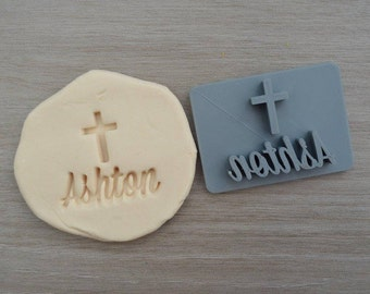 Name Cross Baptism Christening Confirmation Imprint Custom Personalized Cookie/Fondant/Soap/Embosser Stamp