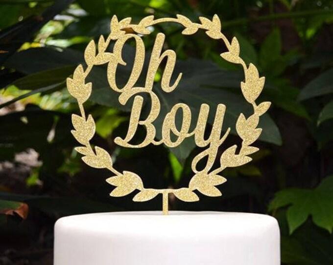 Wreath Oh Boy Cake Topper - Baby Shower Cake Topper - Baby Boy Cake Topper