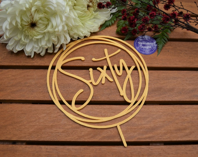 Sixty Ring Birthday Cake Topper - 60th Birthday Cake Topper - Assorted Colours