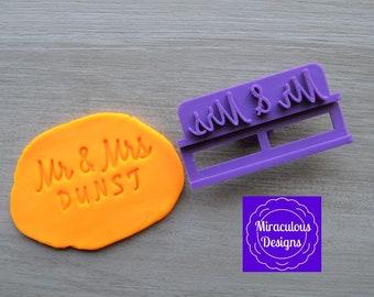 Mr & Mrs Name V1 DIY Stamp/Holder Imprint Wedding Engagement Cookie/Fondant/Soap/Embosser Stamp