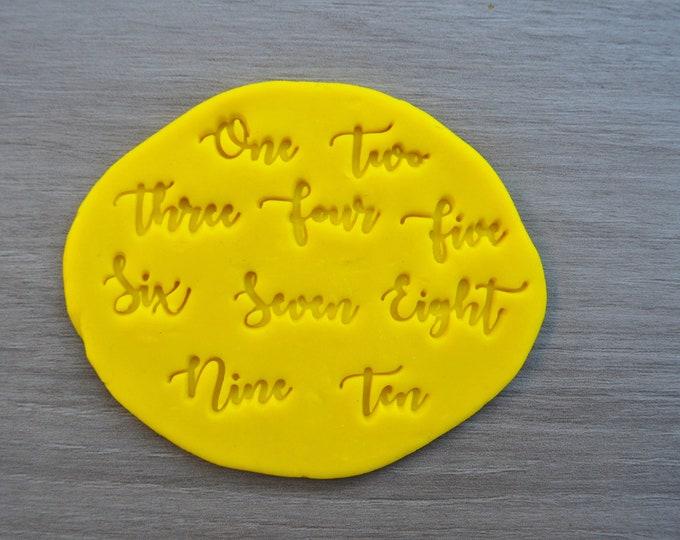 One - Ten Word Number Birthday Imprint Cookie/Fondant/Soap/Embosser Stamp