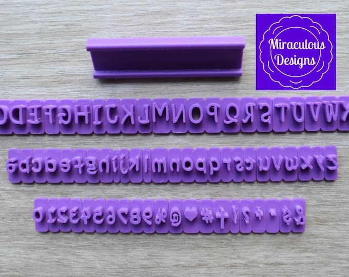 Fancy Sets Size 1 - Individual Letters Number Special Characters Cookie Fondant Stamp Embosser