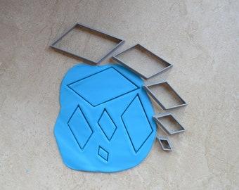 Rhombus Polymer Clay Cutter Set Cookie Fondant Cutters