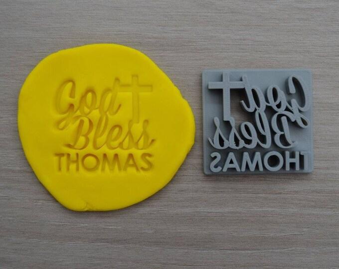 God Bless Name Cross Imprint Custom Personalized Cookie/Fondant/Soap/Embosser Stamp