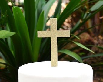 Cross Christening Baptism Confirmation Cake Topper
