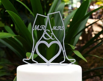 Mr & Mrs Wedding Cake Topper - Bride and Groom Wedding Cake Topper -Toasting Wine Glass Champagne Glasses