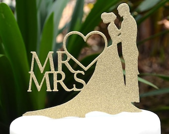 Mr & Mrs Wedding Cake Topper - Bride and Groom Wedding Cake Topper Silhouette