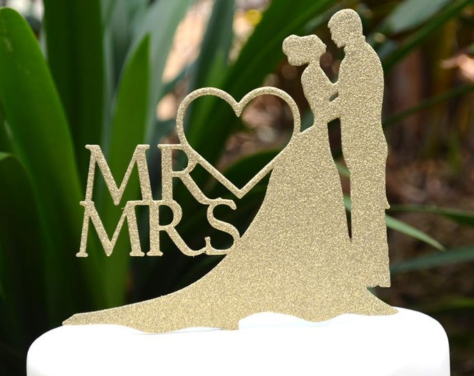 Mr & Mrs Wedding Cake Topper - Bride and Groom Wedding Cake Topper Silhouette