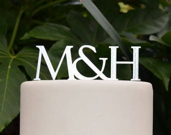 Initials Cake Topper - Wedding Custom Personalized Name Cake Topper