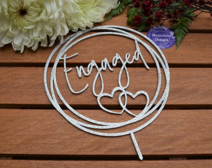 Engagement Ring Hearts Cake Topper - Wedding Cake Topper