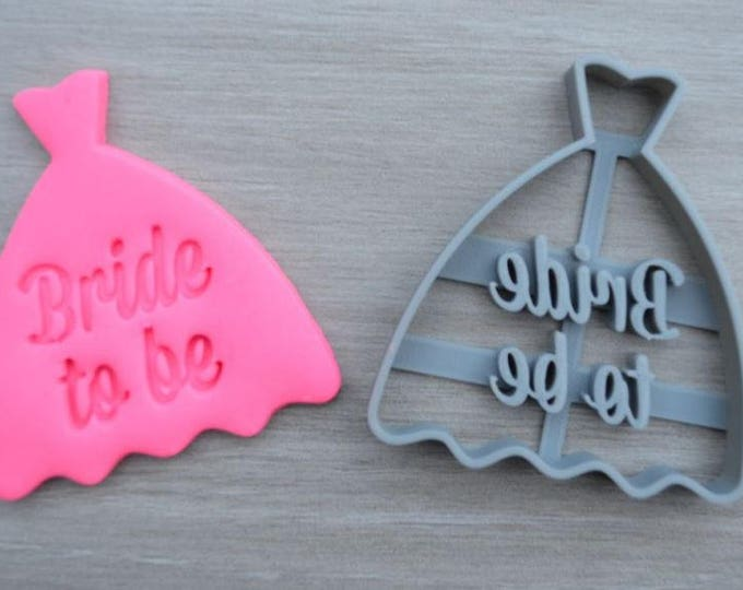 Bride to Be Wedding Dress Party Cookie Cutter Fondant Cutter