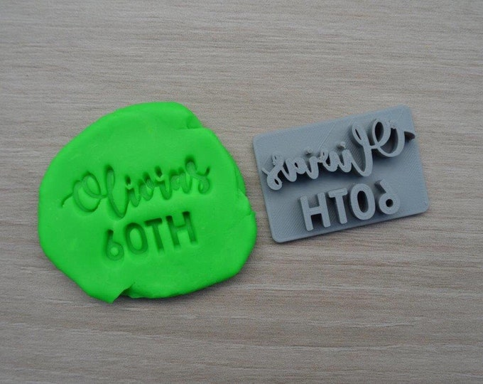 60th Birthday Custom/Personalized Name Imprint Cookie/Fondant/Soap/Embosser Stamp