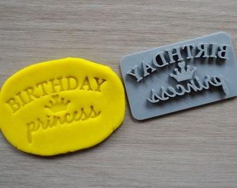 Birthday Princess Imprint Cookie/Fondant/Soap/Embosser Stamp