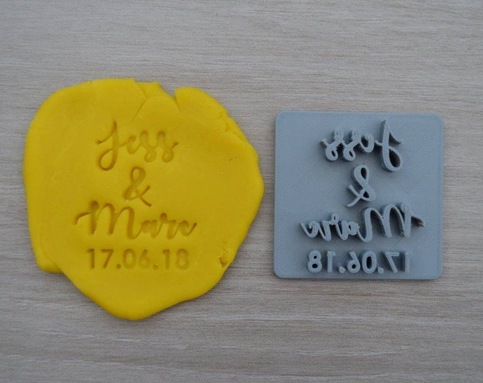 Custom Name and Name and Date Imprint Cookie/Fondant/Soap/Embosser Stamp