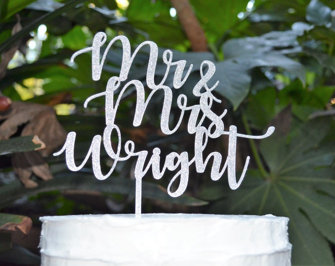 Mr & Mrs Name Wedding Cake Topper - Bride and Groom Wedding Personalised Cake Topper