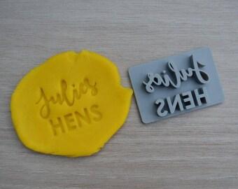 Hens Custom Name Imprint Cookie/Fondant/Soap/Embosser Stamp
