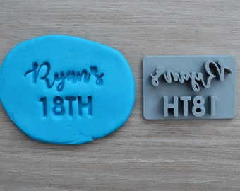 18th Birthday Custom/Personalized Name Imprint Cookie/Fondant/Soap/Embosser Stamp