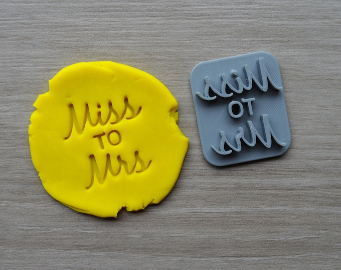 Miss to Mrs Imprint Font 3 Cookie/Fondant/Soap/Embosser Stamp