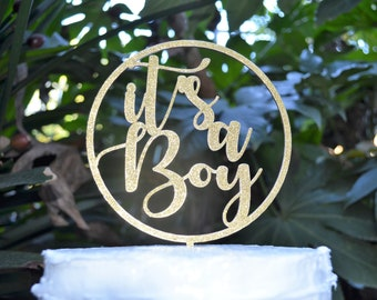 Circle Its a Boy Cake Topper - Baby Shower Cake Topper - Baby Boy Cake Topper