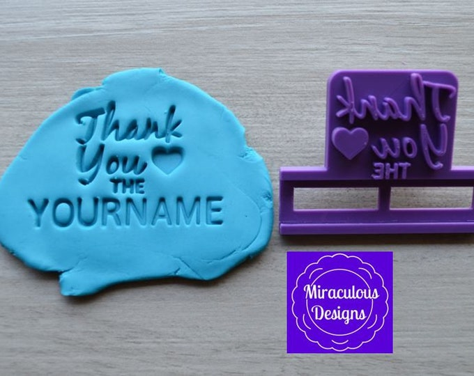 Thank You Love Name DIY Stamp/Holder Imprint Wedding Engagement Cookie/Fondant/Soap/Embosser Stamp