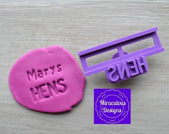 Name Hens DIY Stamp/Holder Imprint Wedding Engagement Cookie/Fondant/Soap/Embosser Stamp