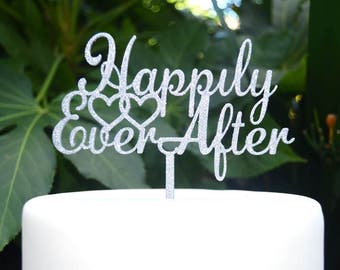Happily Ever After Wedding Engagement Heart Cake Topper - Bride and Groom Wedding Cake Topper