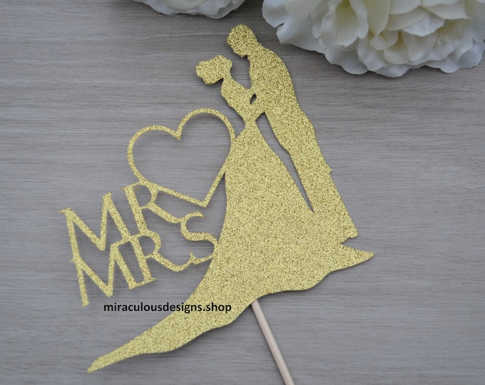 Mr & Mrs Wedding Cake Topper - Bride and Groom Wedding Cake Topper Silhouette - Assorted Colours