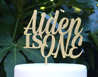 Age One Custom/Personalized Name Birthday Cake Topper - Assorted Colours