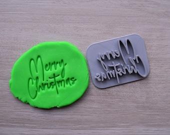 Merry Christmas Imprint Font 3 Cookie/Fondant/Soap/Embosser Stamp