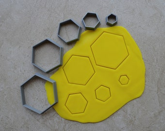 Hexagon Polymer Clay Cutter Set Cookie Fondant Cutters