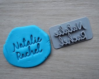 Custom Name 2 line Imprint Font 2 Cookie/Fondant/Soap/Embosser Stamp