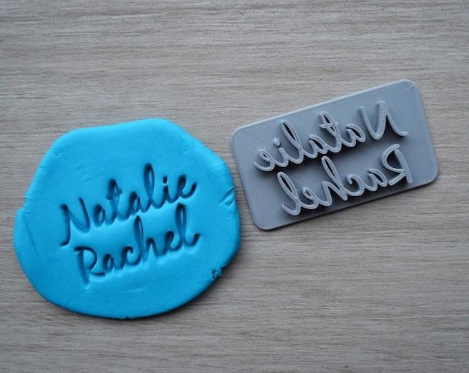 Custom Name 2 line Imprint Font 2 Cookie/Fondant/Soap/Embosser Stamp