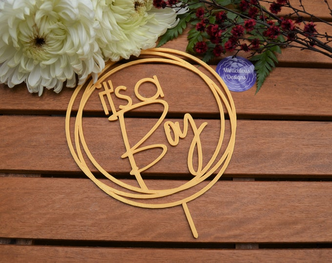 Its a Boy Ring Cake Topper - Baby Shower Cake Topper - Baby Boy Cake Topper