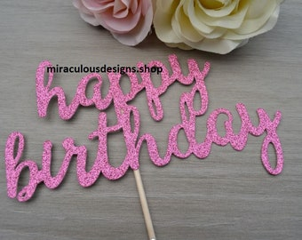 Happy Birthday Cake Topper - Birthday Cake Topper - Assorted Colours
