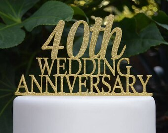 40th Wedding Anniversary Cake Topper - Assorted Colours