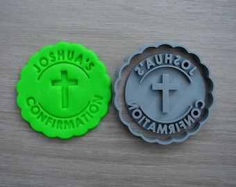 Confirmation Any Name and Cross Cookie Cutter Fondant Cutter Stamp Party Favor Cake Topper Custom/Personalised