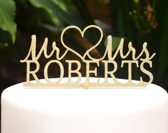 Mr & Mrs Wedding Custom Personalized Name Cake Topper - Bride and Groom Wedding Heart Cake Topper