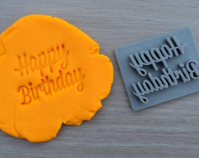 Happy Birthday Font 1 Imprint Cookie/Fondant/Soap/Embosser Stamp