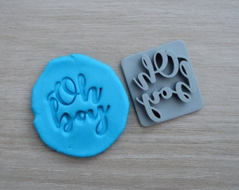 Oh Boy Imprint Font 2 Cookie/Fondant/Soap/Embosser Stamp