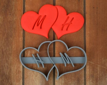 Double Heart Wedding Shower Bridal Anniversary Engagement Valentine Party Cookie Cutter Fondant Cutter Party Favor Custom/Personalised