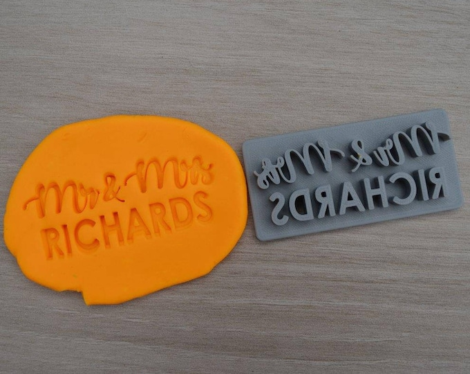 Mr & Mrs Custom Font 1 Personalized Name Imprint Cookie/Fondant/Soap/Embosser Stamp