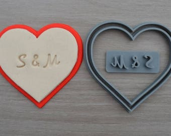 Heart Wedding Shower Bridal Anniversary Engagement Valentine Party Cookie/Fondant Cutter Set Custom Initials