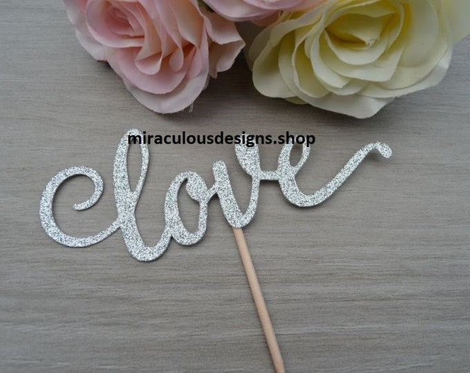 Love Wedding Cake Topper - Wedding Engagement Cake Topper - Assorted Colours