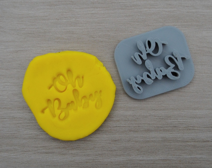 Oh Baby Imprint 3.7cm Cookie/Fondant/Soap/Embosser Stamp
