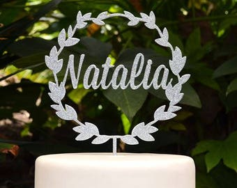 Wreath Custom Personalized Name Cake Topper - Birthday Cake Topper -  Baptism Christening Cake Topper